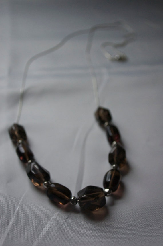 SALE Dark Gray Long Stone Necklace