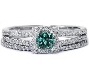 3/4CT Blue Diamond Princess Cut Halo Diamond Engagement Ring Set 14K White Gold