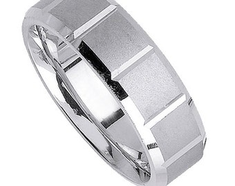 8MM White Gold Satin Mens Comfort Fit Wedding Band Ring