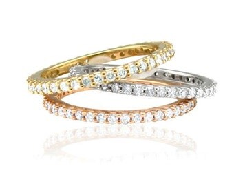 Diamond .60CT Eternity Ring Stackable Wedding Band Womens Anniversary 14K White, Yellow, Or Rose Gold