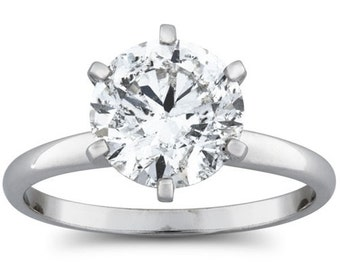 Diamond Engagement Ring, 1.50CT Solitaire Diamond Engagement Ring Round Brilliant Cut 6-Prong 14 Karat White Gold