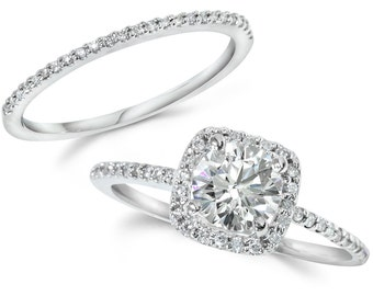 diamond engagement ring cushion halo set solid 14 kt white gold 125ct - Engagement And Wedding Ring Set