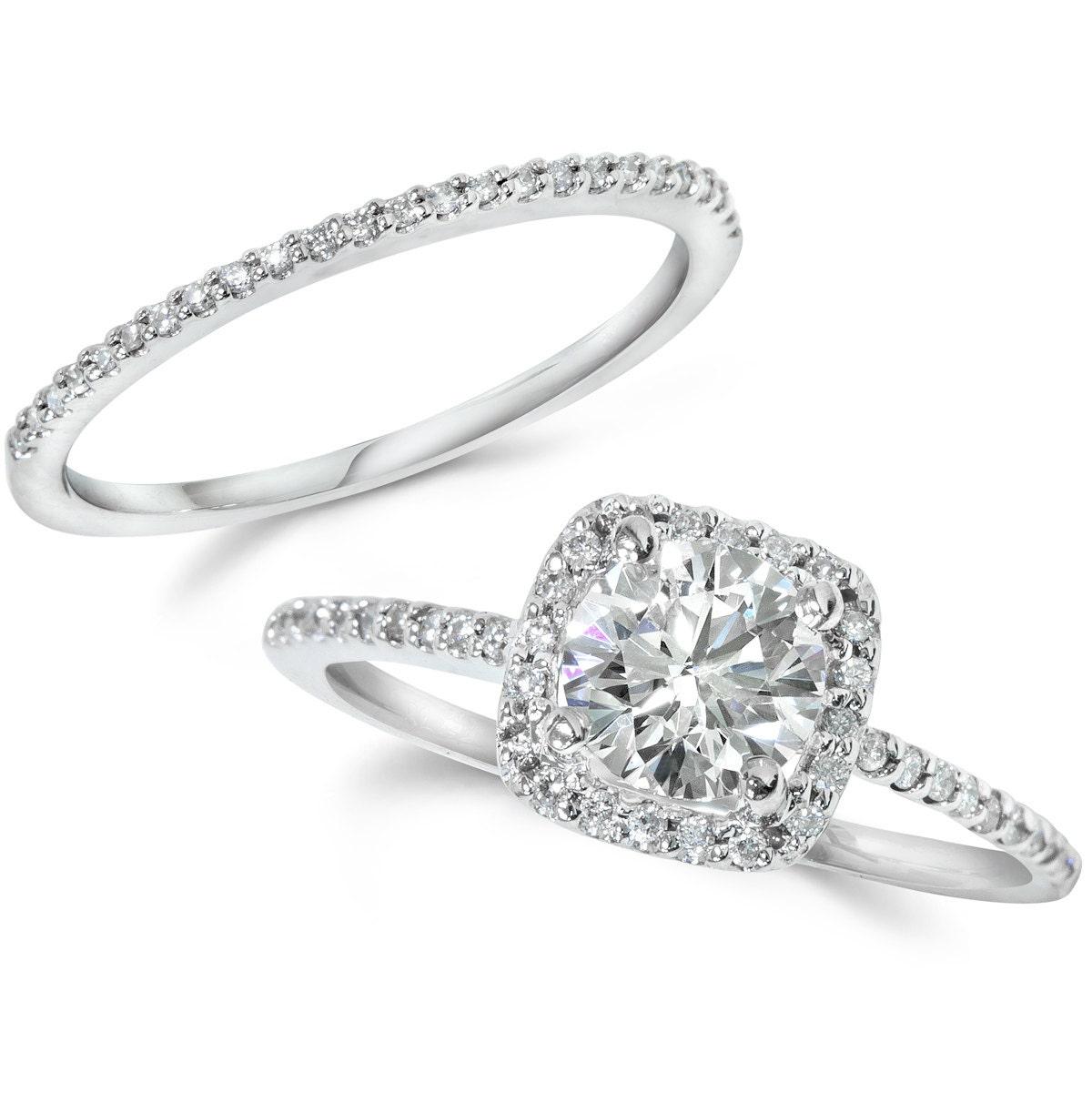 diamond engagement ring cushion halo set solid 14 kt white. Black Bedroom Furniture Sets. Home Design Ideas