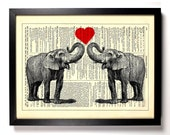 Elephants In Love, Home, Kitchen, Nursery, Bathroom, Office Decor, Wedding Gift, Eco Friendly Book Art, Vintage Dictionary Print, 8 x 10 in.