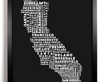 Cities Of California, Home, Kitchen, Nursery, Bath, Dorm, Office Decor, Wedding Gift, Housewarming Gift, Unique Holiday Gift, Wall Poster