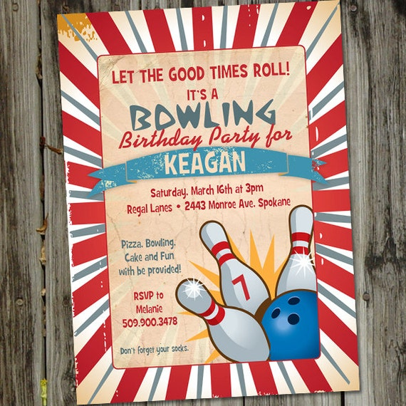 Retro Vintage Bowling Printable Birthday Party Invitation