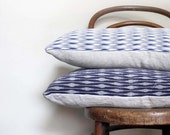 RESERVED //Blue White Chevron Recycled Decorative Pillow / Throw Cushion Cover. Vintage Silk and Natural Linen. Modern Design. Eco Living