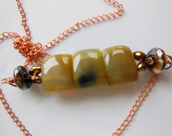 Jade and Ceramic on copper , necklace 465