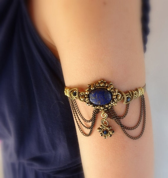 victorian upper arm cuff bracelet armlet with chains and lapis
