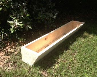 "36"" window box cypress wooden planter flower new wood slant front"