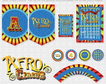 Party Printable Afro Circus Party Theme Basic Package - Personalized Printable with BONUS