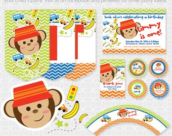 Party Printable Monkey Boy Party Theme Basic Package - Personalized Printable - car, banana, traffic light, fun, birthday, first birthday
