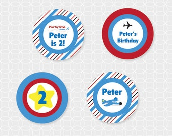 Party Printable Airplane Theme Party Circles - Personalized Printable