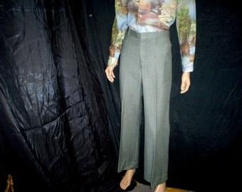 "70s 32"" x 31"" Glen Check Plaid Wool Mens Slacks Flares Bell Bottoms PANTS Green"
