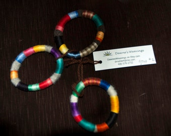 3 multicolored felted bangles- group 2