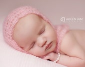 Romantic vintage pink thin ethereal lacy mohair crochet newborn bonnet baby girl photography prop - made to order