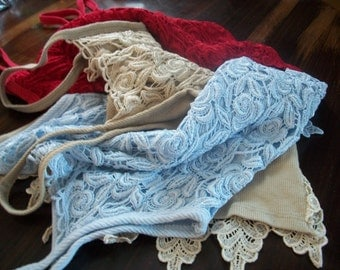 Instant Collection of Vintage Crochet Schiffli Guipure Lace Tops Red/Baby Blue/Ecru XS