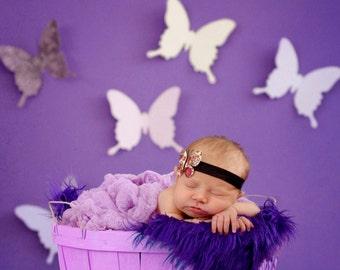 Wall butterflies whimsical  paper butterflies in shades of plum and white 3 D wall  butterflies nursery decor