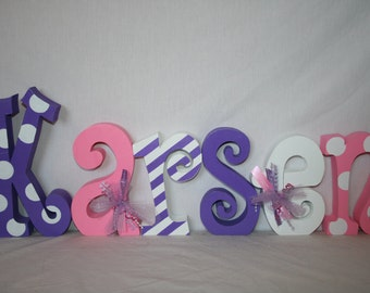 Wood letters, Pink and purple, Nursery letters, 15.00 per letter, Girls nursery decor, Kids room decor, Photo prop, Hanging letters