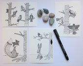 Zentangle art wild life line drawing post cards and prints.