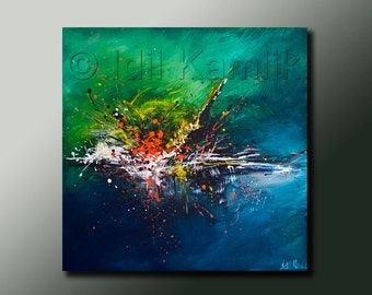 Modern Abstract Original PAINTING Contemporary Fine Art  Splash Style Expressionist Artwork by Idil Kamlik