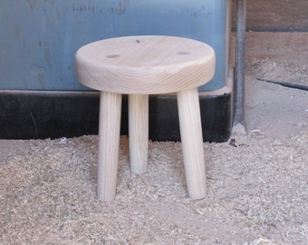 Made to order Rustic wood foot stool unfinished solid ash wood furniture