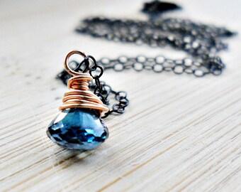 London Blue Topaz Necklace, AAA London Blue Topaz Jewelry 14k Rose Gold Blue Gemstone Jewelry December Birthstone Necklace