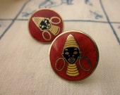 Coro enameled blackamoor earrings - red, black, tribal, screw back