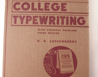 College Typewriting, antique book, 1941