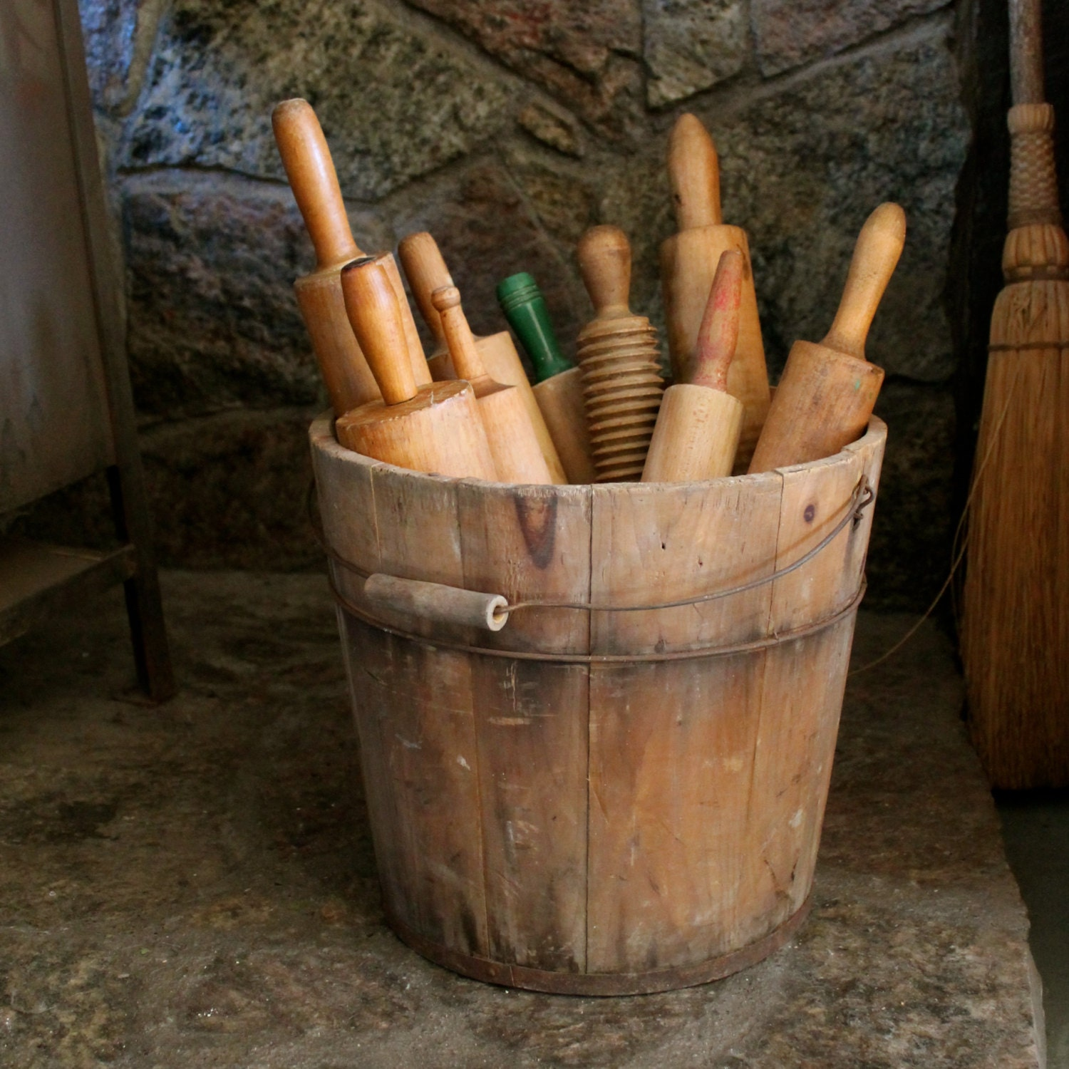 Vintage Wooden Bucket With Handle
