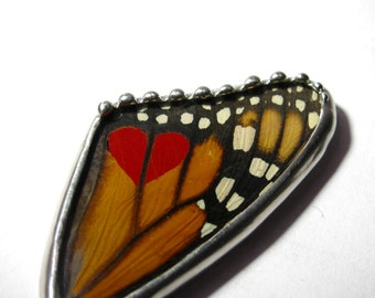 Valentine's Day - Heart Jewelry - Monarch Butterfly -  Heart Pendant - Butterfly Wing