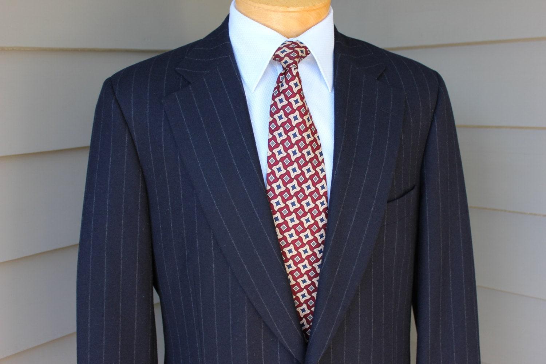 vintage Paul Stuart Men's 2 piece suit. Navy Blue flannel