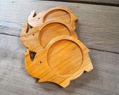 Elephant wood coaster set no.2