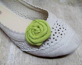 Dainty Moss Green Rosette Shoe Clips (1 pair)