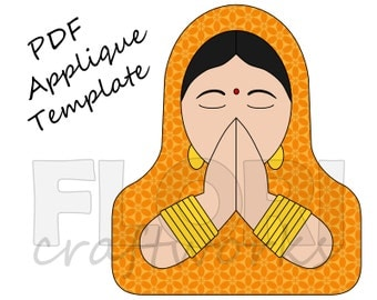 Namaste PDF Applique Template Pattern - Indian Hindu Woman Praying