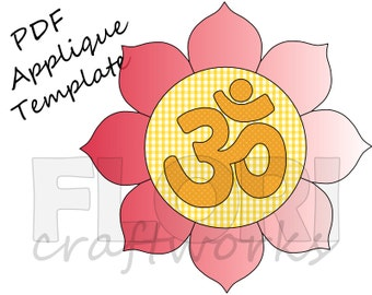 Om / Aum and Lotus PDF Applique Template Pattern