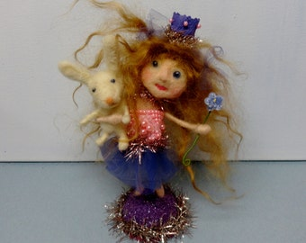 """SALE Fairy Tale Princess Flower Fairy Bunny Rabbit Cake Topper 6-1/2"""" mohair glass eyes wool needle felted tinsel - Violet & Sully"""