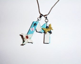 Origami letter M pendant with origami flower and butterfly