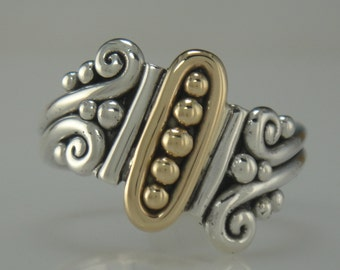 R713-Unique 14k Yellow Gold and Sterling Silver Ring- 1 of a kind