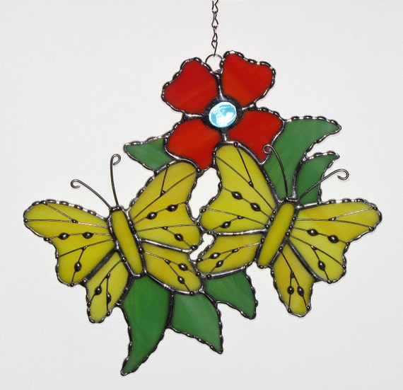 Stained Glass Suncatcher - Yellow Butterflies and Orange Flower with Wire Accents, Signed Original Design