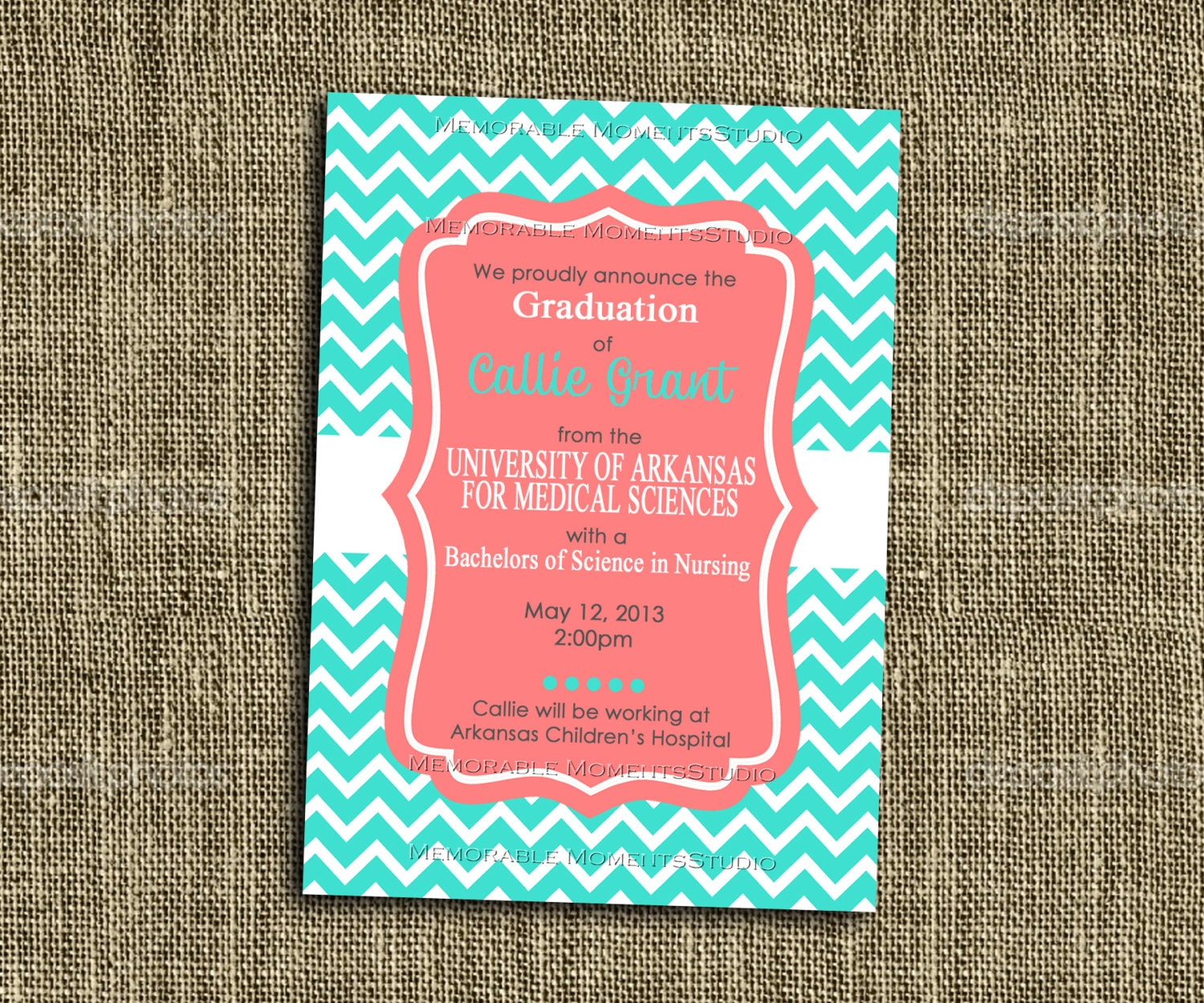 Turquoise And Coral Wedding Invitations: PRINTABLE INVITATIONS Turquoise And Coral Chevron Party