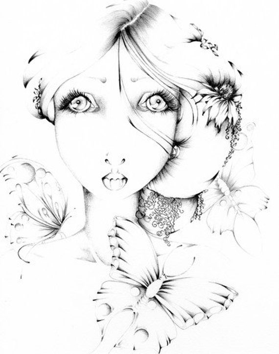 Reserved for Jessica ... Giclee Print of my Original Pencil Drawing Fantasy Fine Art