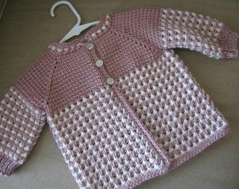 Crochet Pink Rose White Girl Sweater - MADE TO ORDER - Tunisian Crochet - Handmade