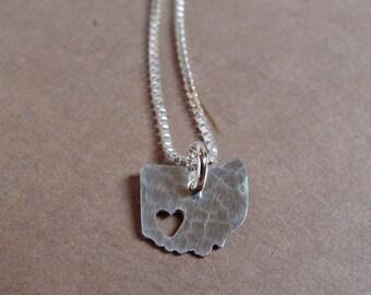 Tiny Ohio Necklace. Custom Small Ohio State Silver Pendant. I Heart Gold Ohio University Columbus Akron Charm. Personalized Gift For Her.
