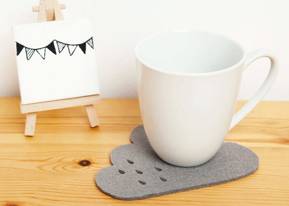 Cloud Felt Coaster with punched rain detail - grey 100% 3mm wool felt