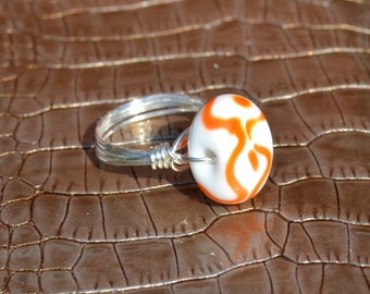 Orange, White, and Silver Ring, Orange-White Lampwork bead, wire wrapped ring