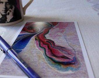 "Blank Note Card, Multicolored Abstract Art Card with envelope, ""Streams of Color no. 5"""