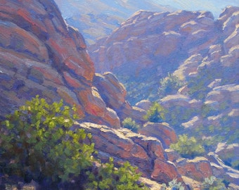 Southern California plein air landscape painting in oil, Vasquez Afternoon, by Elena Roché