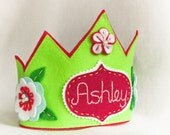Personalized Birthday Party Felt Crown -Green Fairy Princess, Costume Accessory, Floral Spring Photo Prop