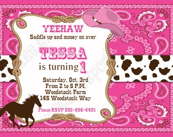 DIY Cowgirl Printable Birthday Party Invitation  pink brown horse western